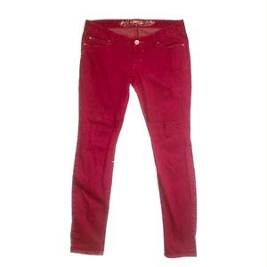 Express Red/Burgundy Legging Jeans